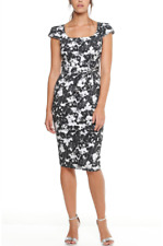SACHA DRAKE ABSTRACTION WHITE ROSE FITTED DRESS – FLORAL PRINT