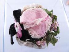 ADORABLE SMALL HAND SEWN VICTORIAN DOLLS LACE BRIMMED HAT WITH FLOWERS