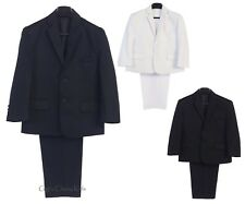 Boys Black Navy Blue White 2 Pc Suit Wedding First Communion Easter Graduation