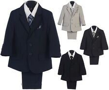 Boys Formal Suit 5 Piece Ring Bearer Baby Toddler Kids Wedding Graduation Easter