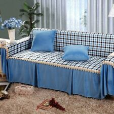 Polyester Warm Sofa Cover Couch Protector for 1 2 3 4 seater OauR Checked Blue