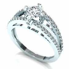 1ctw Ladies 925 Sterling Silver Round Diamond Accent Solitaire Engagement Ring