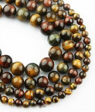 1Strand Nice Natural Three Color Tiger Eye Gem Round Loose Beads 15.5inch HH3569