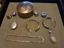 Job Lot Antique Vintage + Solid Sterling Silver Jewellery 925 Pendants Chain
