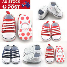 0-18 Months Newborn Infant Baby Boy Girl Canvas Crib Shoes Cute Sneakers AU