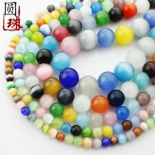 1Strand Beautiful Multicolor Cat Eye Gemstone Round Loose Beads 15.5inch HH3607