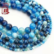 Wholesale 1Strand Nice Blue Stripes Onyx Agate Round Loose Beads 15.5inch HH3618