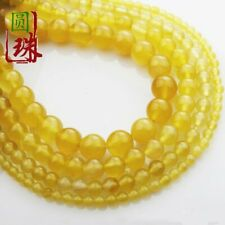 Wholesale 1Strand Beautiful Yellow Agate Round Loose Beads 15.5inch HH3622