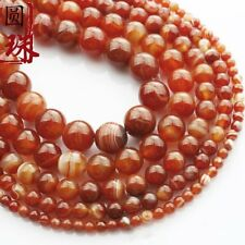 Wholesale 1Strand Nice Red Stripes Onyx Agate Round Loose Beads 15.5inch HH3624