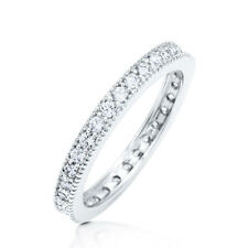 Sterling Silver .925 CZ Round Vintage Design Eternity Wedding Band Ring Sz 4-10