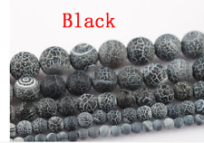 1Strand Nice Black Coin Dragon Veins Agate Round Loose Beads 15.5inch HH3639
