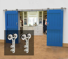 4-16FT Stainless Steel Sliding Barn Wood/Glass Door Hardware Closet Track Kit