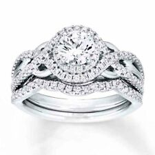 Sterling Silver 925 Vintage Round Halo Engagement Ring Wedding Band Set Sz 5-10