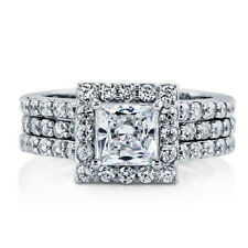 Sterling Silver 925 CZ Princess Cut Halo Engagement Ring Wedding Band Set 5-10