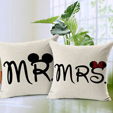 MR. & MRS. Pillowcase Linen Throw Pillow Cases Home Decor Cushion Covers Square