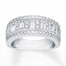 Sterling Silver 925 CZ Women's Baguette Anniversary Wedding Band Ring Sz 4-10