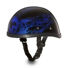 Daytona Skull Cap EAGLE-W/ FLAMES BLUE Chopper Bike Motorcycle Helmet 6002SFB