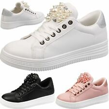 Esther Womens Flats Low Heel Lace Up Trainers Ladies Shoes Gem Skater Pumps Size