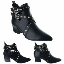 LADIES WOMENS LOW MID BLOCK HEEL STUDDED POINTY TOE PIXIE ANKLE BOOTS SHOES SIZE