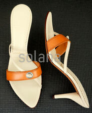 YSL YVES SAINT LAURENT SCARPE SUOLA Brown White Leather Pump Slides 40.5