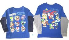 Super Mario Boys Long Sleeve T-Shirts NWT Size 4/5 or 6/7 Blue w Layered Sleeves