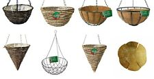 Outdoor Hanging Rattan Rope Round Cone Wire Basket Coco Liner Chain Garden Plant