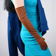 """Suede Long Gloves Faux Leather 24"""" 60cm Opera Evening Brown Double-faced Suede"""