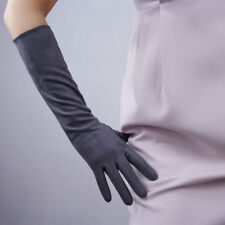 """Suede Long Gloves Faux Leather 16"""" 40cm Opera Evening Gray Double-faced Suede"""