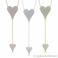 Double Heart Pendant CZ Crystal Love Charm Long Necklace in .925 Sterling Silver
