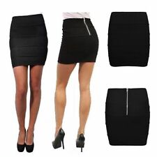 NEW WOMEN'S GIRLS ALL ROUND RIBBED BODYCON MINI SKIRT WITH BACK ZIP UK SIZE 8-16