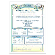 Personalised 30th Birthday Gift - 'Day You Were Born' History Print - Australia