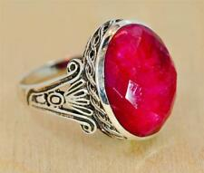 NATURAL RUBY JULY GEMSTONE VINTAGE STYLE 925 SILVER MENS WOMEN RING r0118