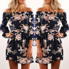 UK Womens Floral Spring Off Shoulder Navy Pullover Chiffon Casual Mini Dress