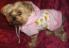 Dog Cat Apparel Clothes Pink Flowers Hoodie Shirt Choice of XXS XS Small