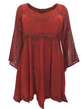 Womens plus size 18 20 22 24 Top embroidered lace romantic tunic RED / RUST