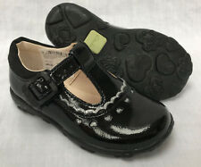 BNIB Clarks Girls Ella Alice Black Patent Leather Lights First Shoes E/F/G