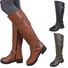 Womens Ladies Knee High Block Low Heel Boots PU Leather Buckle Casual Shoes