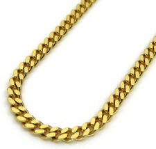 """Mens Solid 10K Yellow Gold 3.5MM Miami Cuban Link Chain Necklace 18""""-24"""" Inches"""
