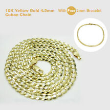 10K Yellow Gold 4.5mm Cuban Link Chain Necklace with Free 2mm Bracelet