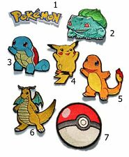 Pokemon Characters Inspired Iron on Embroidered Patches Pikachu Pokeball