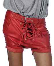 NEW ONE TEASPOON GENUINE LEATHER SHORTS  XS S M 2 4 6 8 10 RED $280 WOMEN