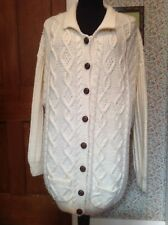 GORGEOUS LADIES CHUNKY OVERSIZED HAND KNITTED ARAN CARDIGAN 14/16/18/20