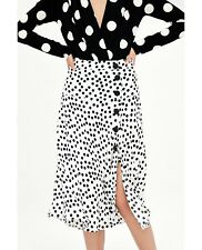 ZARA NEW POLKA DOT SKIRT BUTTONS BLACK WHITE MIDI RUFFLE TRIM MIDI SIZE XS-L