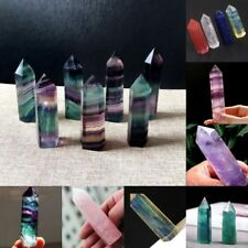 100% Natural Fluorite Quartz Crystal Stone Point Pipe Healing Hexagonal Wand New