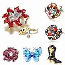 Fashion Rhinestone Crystal Rose Flower Butterfly  Brooch Pin Lady Jewelry Gift