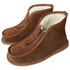 Womens Ladies Leather Slippers Shoes Zip Boots Sheep Wool US size 5 6 7 8 9 10
