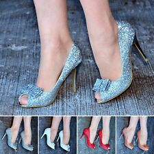 Ladies Glitter Peep toe Shoe Sparkly High Heels Bow Dress Shoes Party Wedding