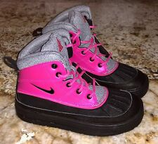 NIKE Woodside 2 High Pre School Boots Pink Black Grey NEW Little Girls Sz 1