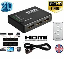 3 Port HDMI Switch Switcher Splitter Full HD for HDTV DVD PS3 + IR Remote