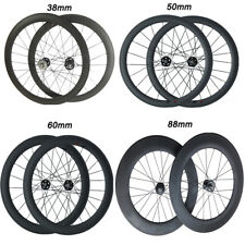 700C Carbon Wheels 38 50 60 88mm Depth Clincher Tubular Wheelset Free shipping